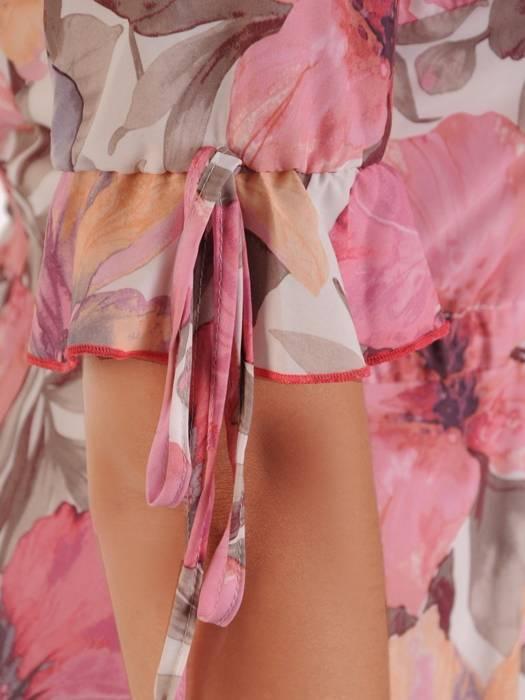 Sukienka z szyfonu, zwiewna kreacja w kwiaty 26412