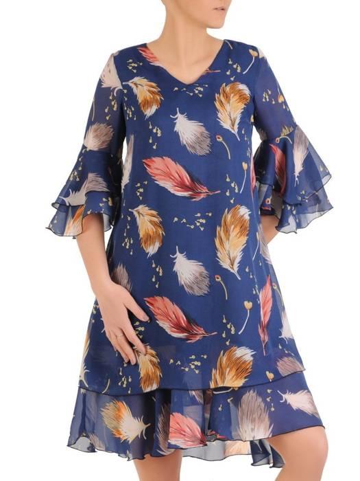 Sukienka z szyfonu, zwiewna kreacja w pióra 28939