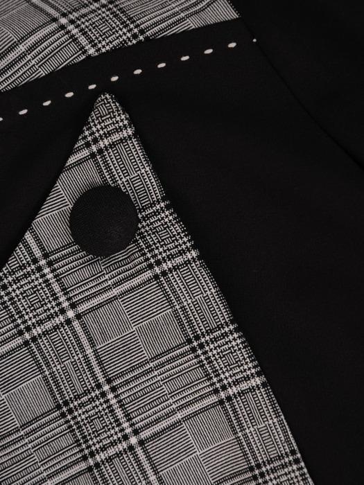 Sukienka z tkaniny, czarna kreacja z kontrastowymi wstawkami 22004.