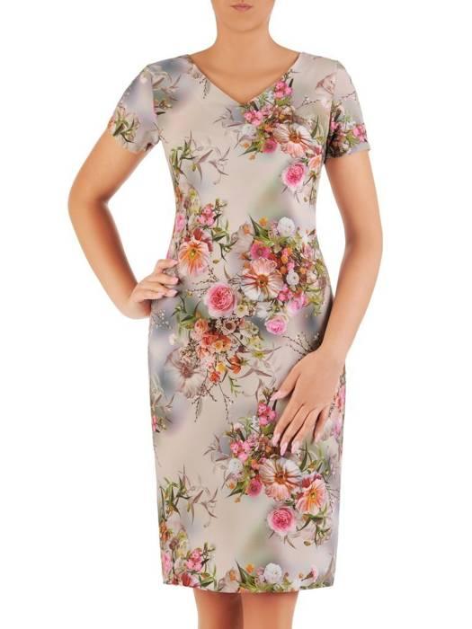 Sukienka z tkaniny, prosta kreacja w oryginalnym wzorze 26494