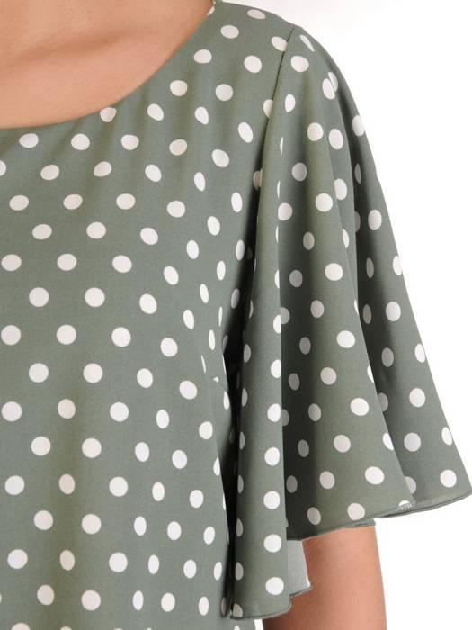 Sukienka z tkaniny, zwiewna kreacja w groszki 29174