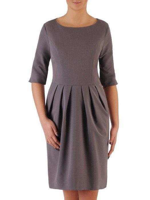 Sukienka z zakładkami Łucja X, elegancka kreacja z efektownym marszczeniem.