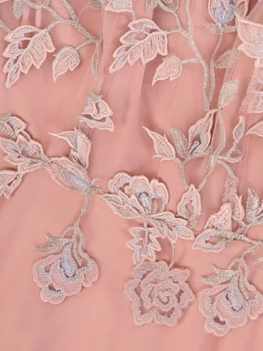 Suknia z dekoracyjnym topem, rozkloszowana kreacja wieczorowa 29896