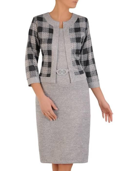 Szara dzianinowa sukienka, kreacja z imitacją żakietu 28153