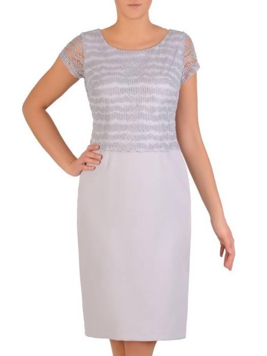Szara sukienka z koronkowym topem i wiązaniem na plecach 28295