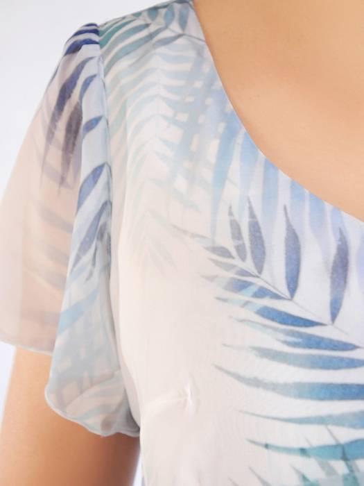Szyfonowa sukienka damska, kreacja w rozkloszowanym fasonie 30001