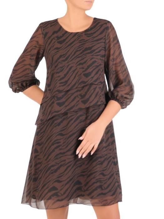 Szyfonowa sukienka damska, kreacja z gumkami na rękawach 27595