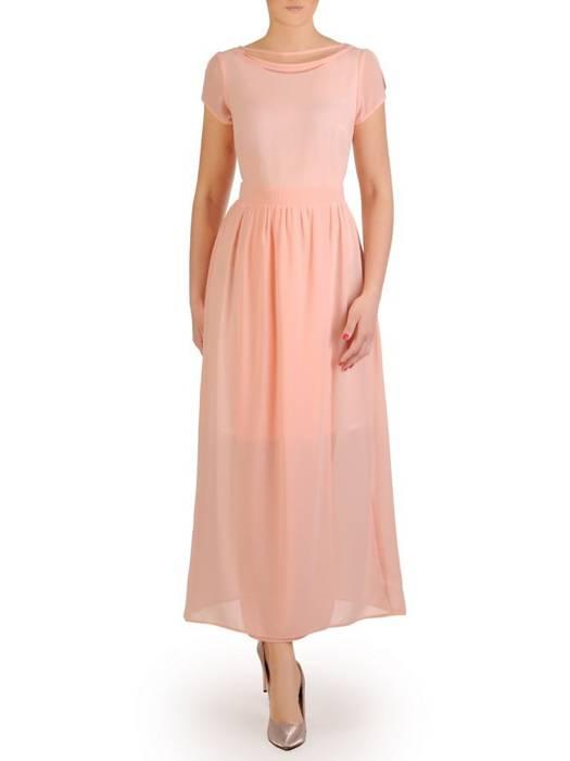 Szyfonowa sukienka maksi, kreacja z ozdobnym dekoltem 29255
