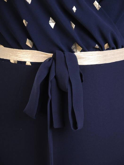 Szyfonowa sukienka maxi, granatowa kreacja z ozdobnym paskiem 30747