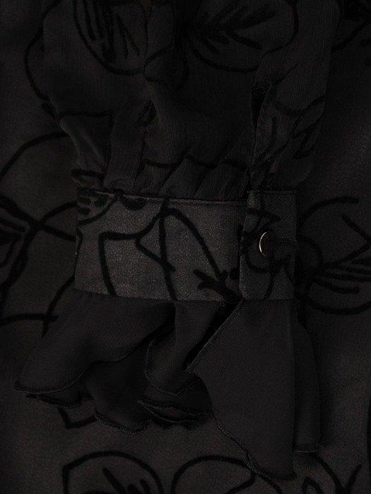 Szyfonowa sukienka o trapezowym kroju, kreacja z oryginalnym nadrukiem 24041