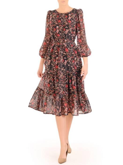 Szyfonowa sukienka w kwiaty, kreacja z bufiastymi rękawami 30484