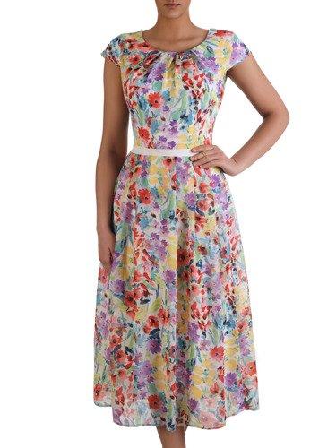 Szyfonowa sukienka w wielobarwne kwiaty 15439, zwiewna kreacja o długości midi.