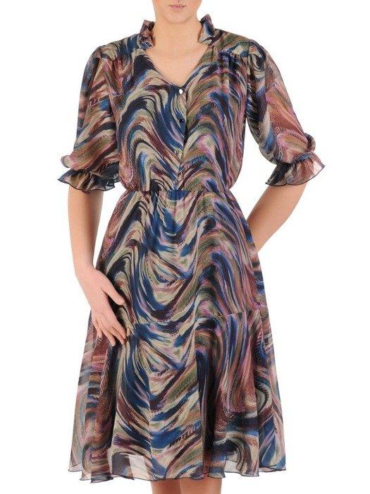 Szyfonowa sukienka z guzikami przy dekolcie, w oryginalnym wzorze 25199