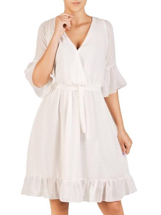 Szyfonowa sukienka z kopertowym dekoltem i falbankami 30224