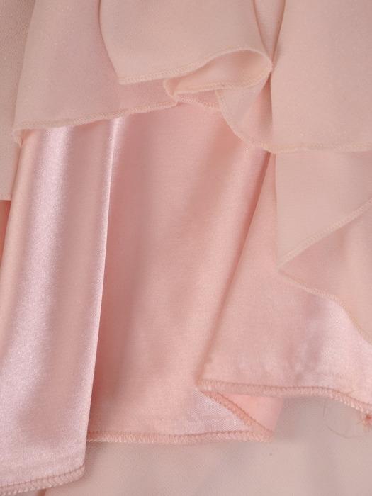 Szyfonowa sukienka z koronkowym topem, pudrowa kreacja na wesele 22018.