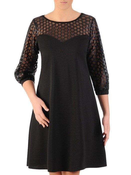 Trapezowa sukienka z dzianiny, kreacja z ażurowym wykończeniem 24263