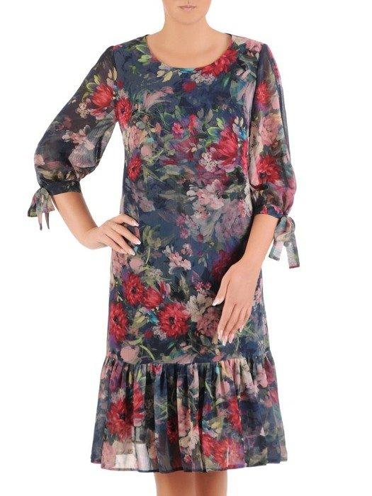 Trapezowa sukienka z falbaną, szyfonowa kreacja w modny wzór 26743