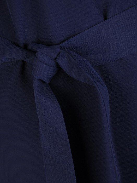 Trapezowa sukienka z modną stójką, kreacja z wiązaniem w talii 18813