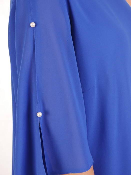 Trapezowa sukienka z szyfonu, kreacja z perełkami na rękawach 30690