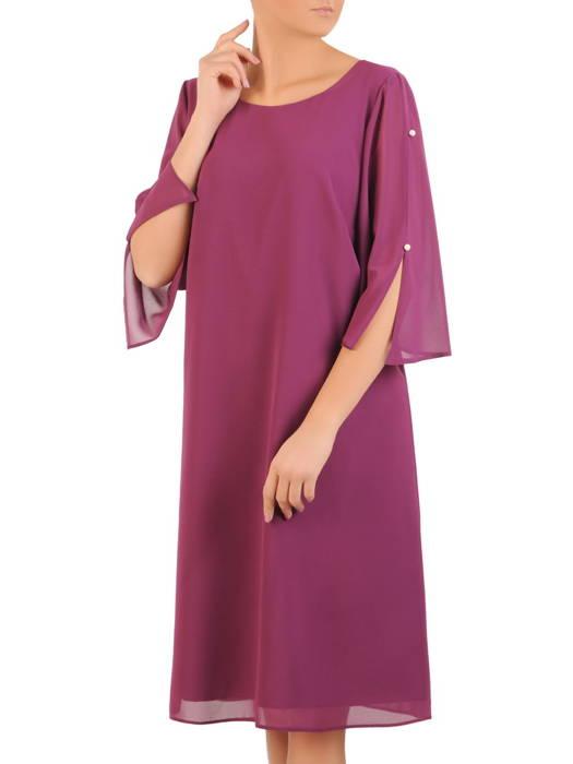 Trapezowa sukienka z szyfonu, kreacja z perełkami na rękawach 31047