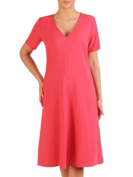 Trapezowa sukienka z tkaniny, luźna kreacja z kieszeniami  29769