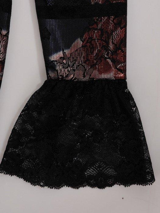Welurowa sukienka z modnym wykończeniem, wieczorowa kreacja w kwiaty 18872
