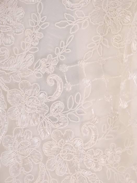 Wieczorowa sukienka o długości maxi, kreacja z koronkowym topem 26864