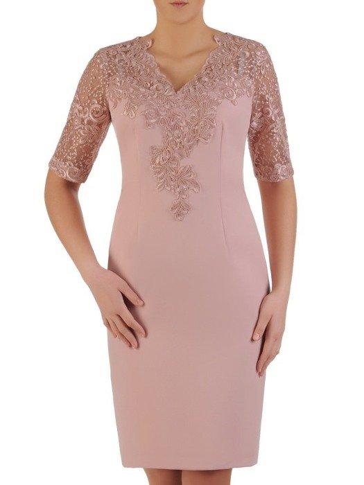 Wieczorowa sukienka wykończona modną koronką 25187