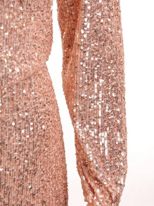 Wieczorowa sukienka z cekinów, kreacja z kopertowym dekoltem 30768