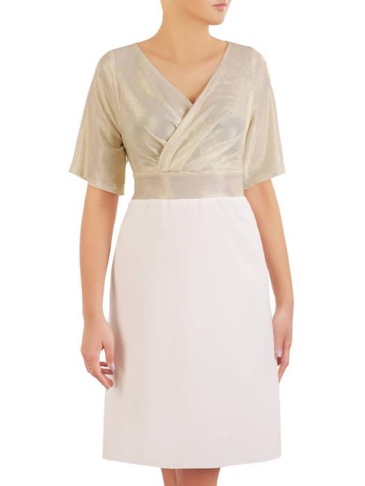 Wieczorowa sukienka z połyskującym topem i kopertowym dekoltem 30933