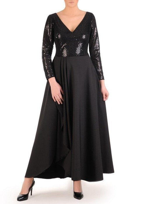 Wieczorowa suknia z cekinowym zdobieniem, czarna kreacja maxi 24879