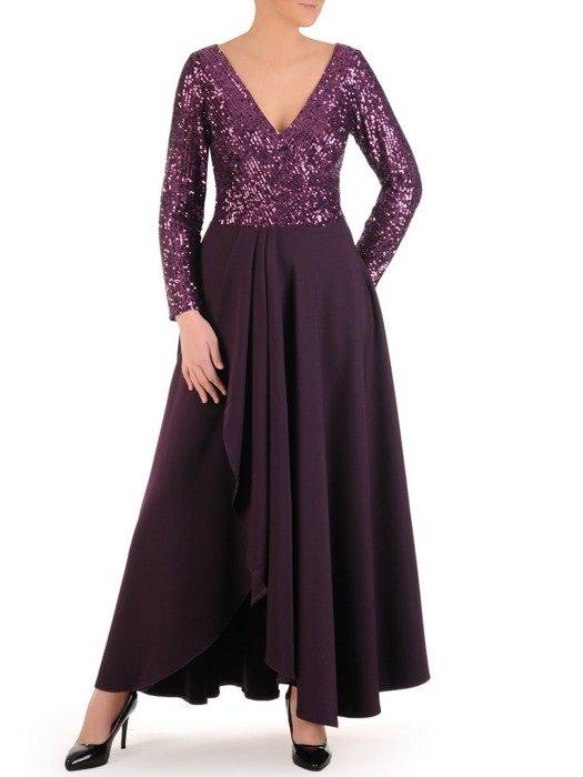 Wieczorowa suknia z cekinowym zdobieniem, fioletowa kreacja maxi 24877