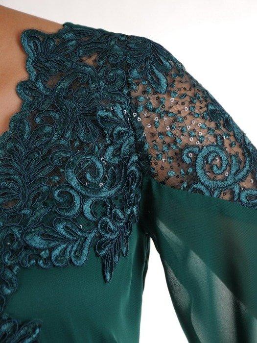 Wieczorowa trapezowa sukienka wykończona modną koronką 25171