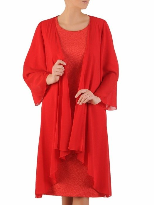 Wieczorowy komplet damski, kreszowana sukienka z lekką narzutką 24366