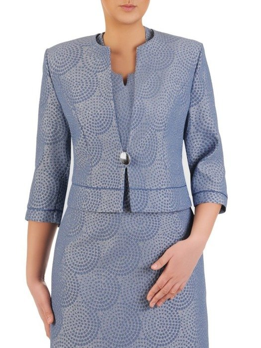 Wieczorowy kostium damski, niebieska połyskująca kreacja 25061