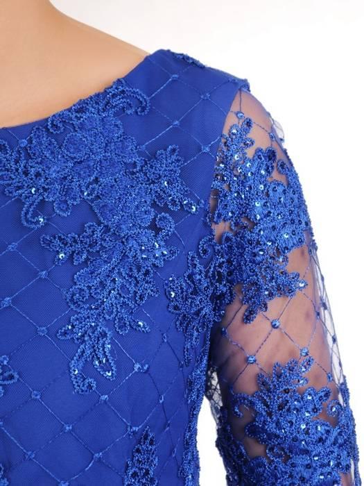 Wizytowa sukienka damska, chabrowa kreacja z koronki i tkaniny 29919