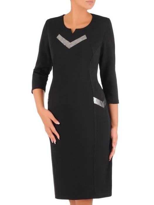 Wizytowa sukienka damska, kreacja ze srebrnymi wstawkami 27213
