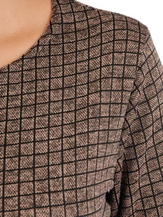 Wygodna dzianinowa sukienka damska w kratkę 27704