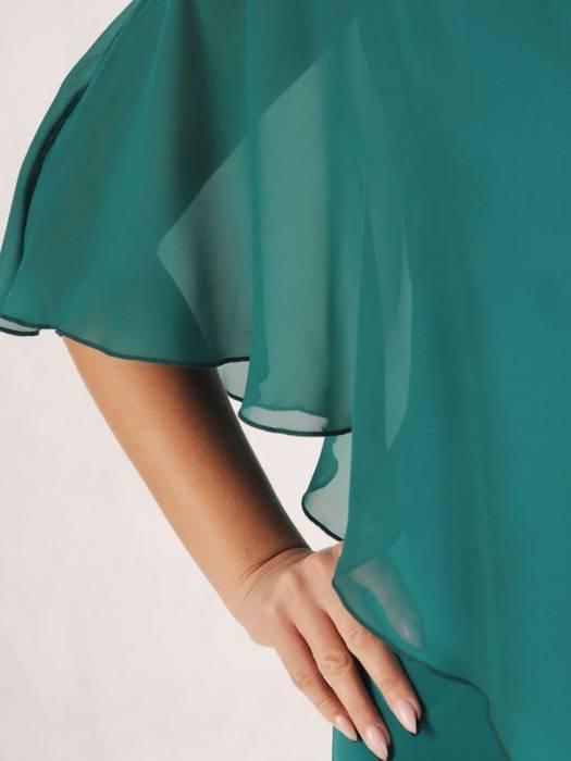 Wyjściowa kreacja z szyfonową narzutką, wyszczuplająca sukienka 27455