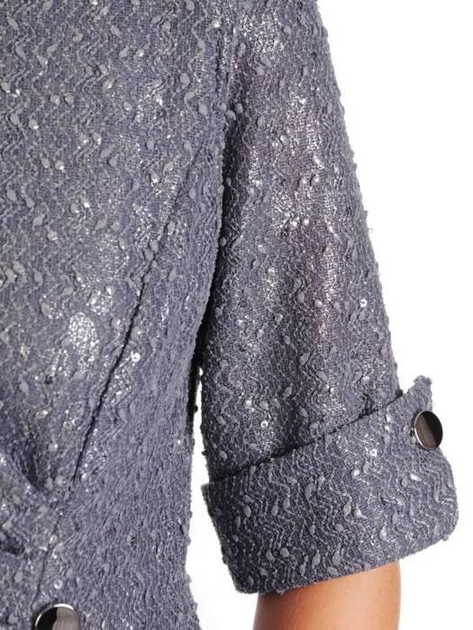 Wyszczuplająca sukienka z guzikami, połyskująca kreacja z ozdobnym marszczeniem 27045