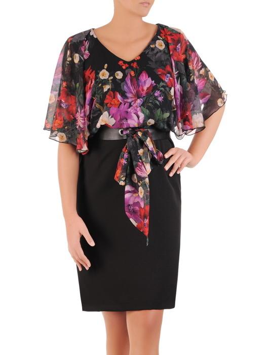 Wyszczuplająca sukienka z szyfonu i tkaniny, kreacja z modnym paskiem 21974