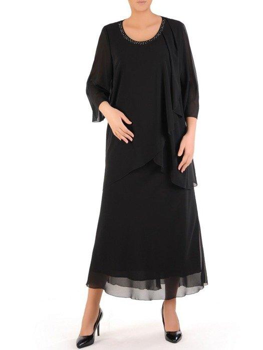 Wyszczuplająca sukienka z szyfonu, kreacja z cyrkoniami 24356