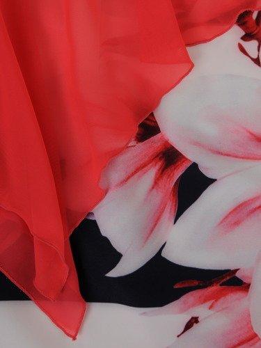 Wzorzysta sukienka z asymetryczną, szyfonową narzutką Lilianna I