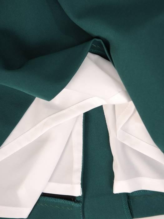 Zielona sukienka wizytowa, kreacja z szyfonowymi rękawami 29804