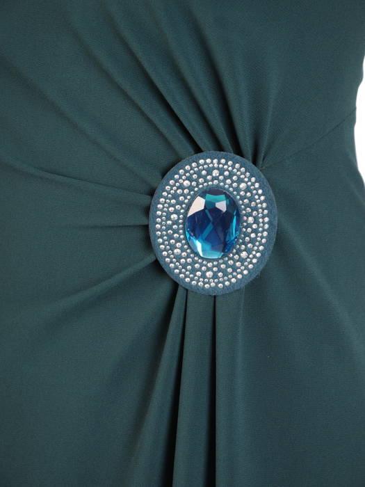 Zielona sukienka z szyfonu, kreacja z wyszczuplającymi marszczeniami 31103