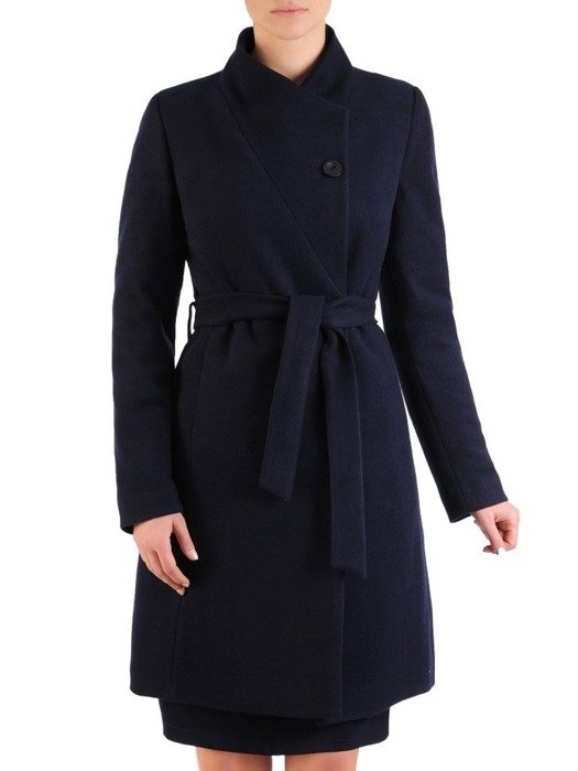 Zimowy płaszcz wełniany z ozdobnym wiązaniem 24321