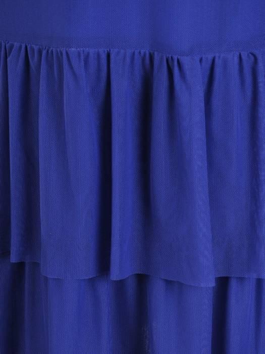 Zwiewna, chabrowa sukienka z tiulu, kreacja z modnymi falbanami 30191