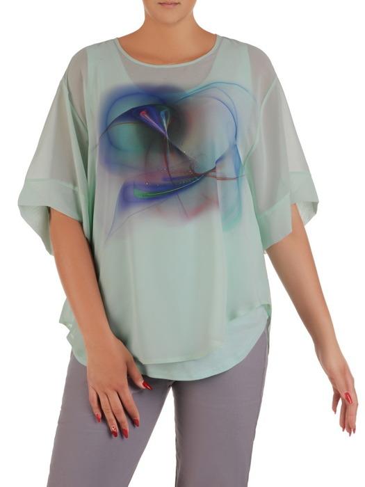 Zwiewna, dwuwarstwowa bluzka z nadrukiem 21411
