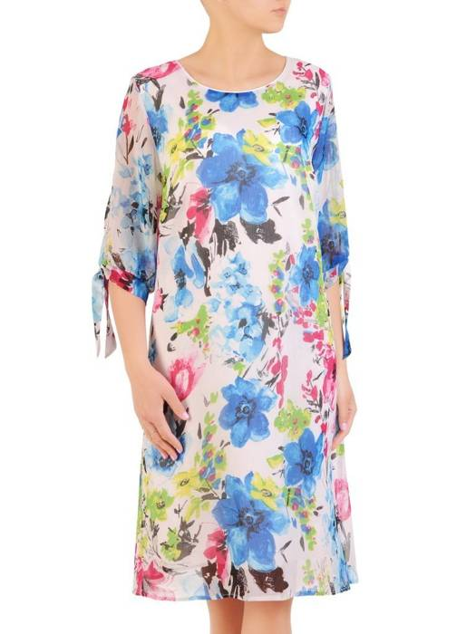 Zwiewna sukienka w kwiaty, kreacja z wiązaniami na rękawach 29948