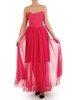 Amarantowa sukienka gorsetowa, kreacja z tkaniny i tiulu 24907